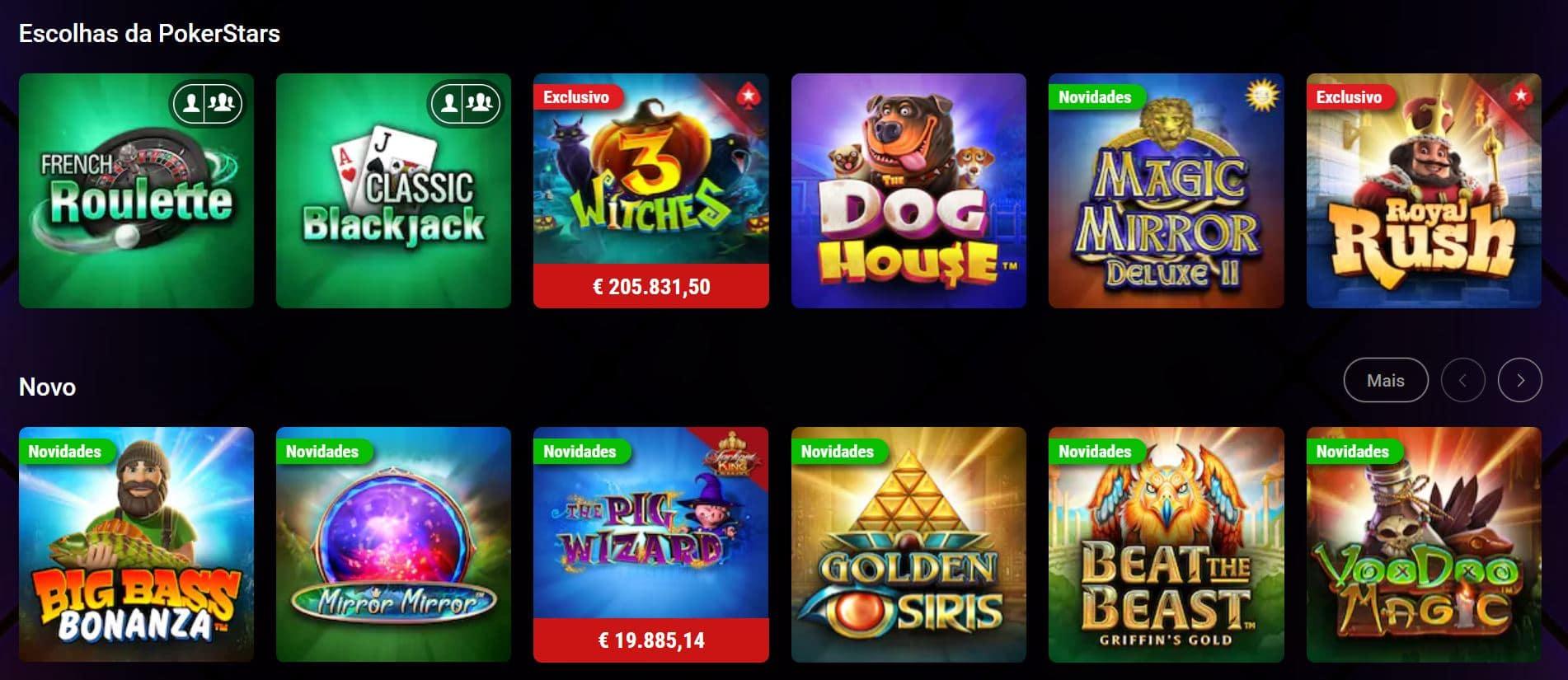 Jogos disponíveis no Pokerstars Casino